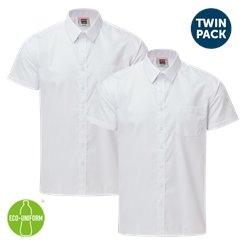 Boys Twin-Pack Short Sleeved White Shirt