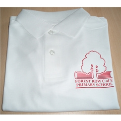 Forest Row White Polo with logo