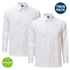 Boys Twin-Pack Long Sleeved White Shirt