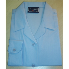 Clearance Blue Long Sleeved Rever Collar Blouse