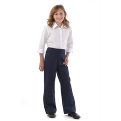 Girls Navy Bootcut Twin Zip Pocket Trousers