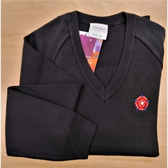 Sackville Navy V-Neck Jumper with Logo