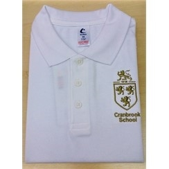 Cranbrook School White PE Polo with Logo