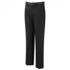 David Luke Charcoal Grey Flat Front Regular Fit Senior Boys Trousers