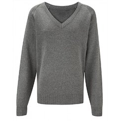 Grey Cotton V-Neck Jumper