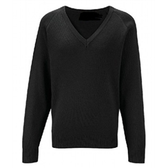 Black Cotton V-Neck Jumper