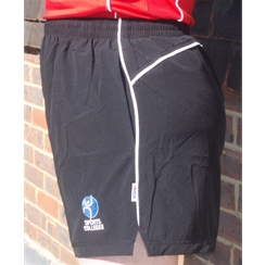 Clearance Black With White Piping PE Shorts with Sports Colleges Logo