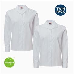 2dedb00f9d4970 White Long Sleeved Rever Collar Twin Pack Blouse