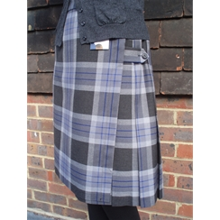 Grey Tartan with Blue Stripe School Kilt