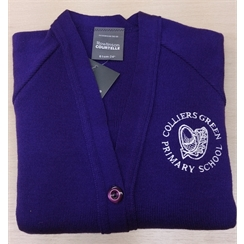 Colliers Green Purple Cardigan with Logo