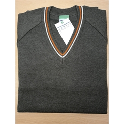 Beacon Grey V-Neck Jumper with Striped Neck Band