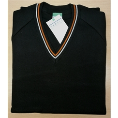 Beacon Year 11 Black V-Neck Jumper with Striped Neck Band (Optional)