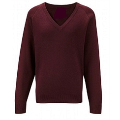 Clearance Maroon Acrylic V-Neck Jumper