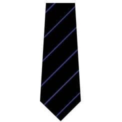 Black with Blue Stripe Senior Length School Tie