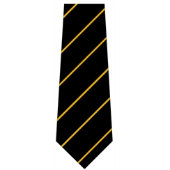 Black with Yellow Stripe Senior Length School Tie