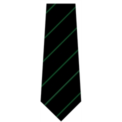 Black with Green Stripe Senior Length School Tie