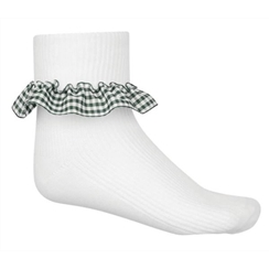 Green 3-Pack Gingham Ankle Socks