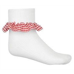 Red 3-Pack Gingham Ankle Socks