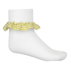 Yellow 3-Pack Gingham Ankle Socks