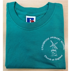 Cranbrook Primary Green House PE T-Shirt with Logo
