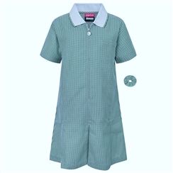 Green A-Line Gingham Summer Dress