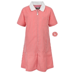 Red A-Line Gingham Summer Dress