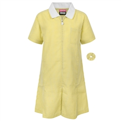 Yellow A-Line Gingham Summer Dress