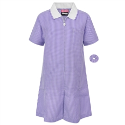 Purple A-Line Gingham Summer Dress