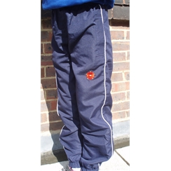 Sackville Navy Tracksuit Bottoms with White Piping, Logo & Initials