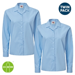 Blue Long Sleeved Rever Collar Twin Pack Blouse
