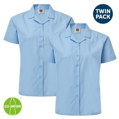 Blue Short Sleeved Rever Collar Twin Pack Blouse